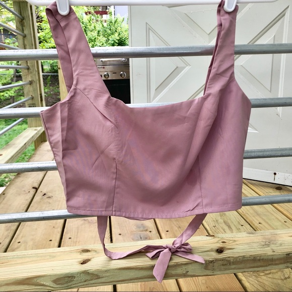 71600921c3c NWT Pale pink lavender tint silky crop top XS